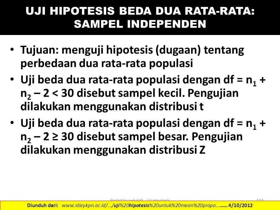 Statistika Induktif - Uji Hipotesis113 UJI HIPOTESIS BEDA DUA RATA-RATA: SAMPEL INDEPENDEN Tujuan: menguji hipotesis (dugaan) tentang perbedaan dua ra
