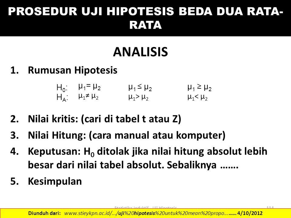 Statistika Induktif - Uji Hipotesis114 PROSEDUR UJI HIPOTESIS BEDA DUA RATA- RATA ANALISIS 1.Rumusan Hipotesis 2.Nilai kritis: (cari di tabel t atau Z