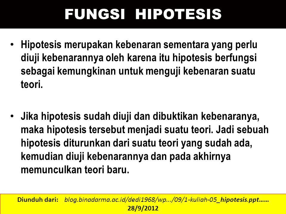 FUNGSI HIPOTESIS Hipotesis merupakan kebenaran sementara yang perlu diuji kebenarannya oleh karena itu hipotesis berfungsi sebagai kemungkinan untuk m