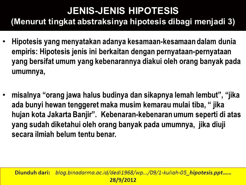 JENIS-JENIS HIPOTESIS (Menurut tingkat abstraksinya hipotesis dibagi menjadi 3) Hipotesis yang menyatakan adanya kesamaan-kesamaan dalam dunia empiris