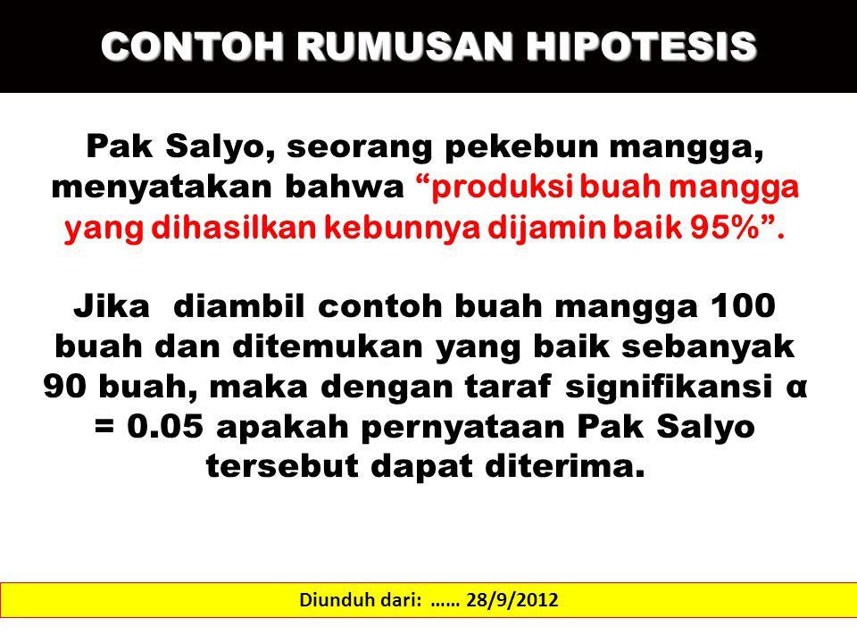 """CONTOH RUMUSAN HIPOTESIS Diunduh dari: …… 28/9/2012 Pak Salyo, seorang pekebun mangga, menyatakan bahwa """"produksi buah mangga yang dihasilkan kebunnya"""