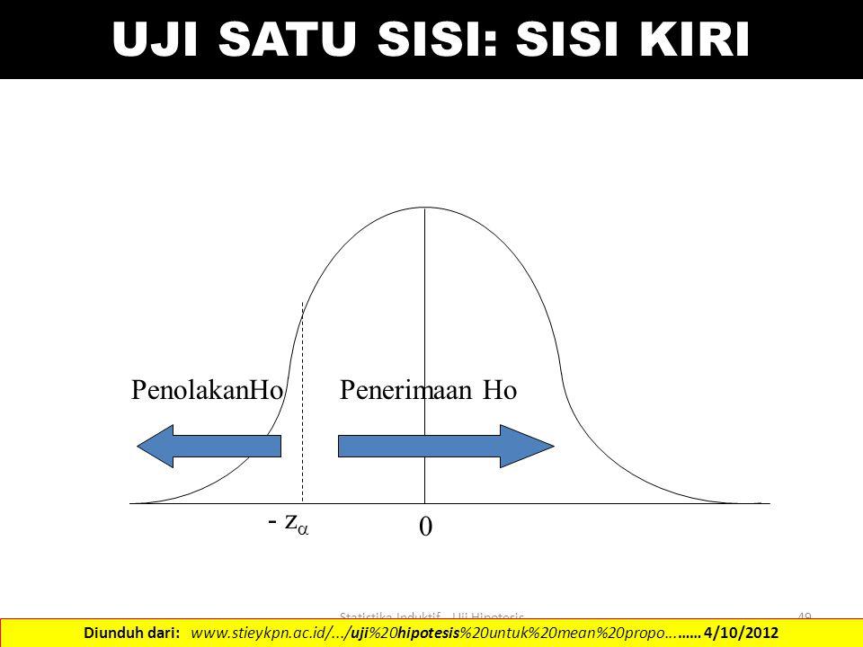 Statistika Induktif - Uji Hipotesis49 UJI SATU SISI: SISI KIRI - z  PenolakanHoPenerimaan Ho 0 Diunduh dari: www.stieykpn.ac.id/.../uji%20hipotesis%2