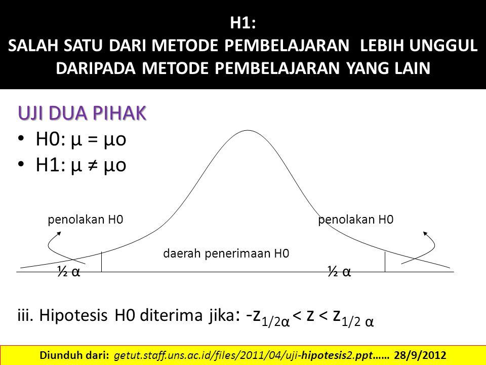 H1: SALAH SATU DARI METODE PEMBELAJARAN LEBIH UNGGUL DARIPADA METODE PEMBELAJARAN YANG LAIN UJI DUA PIHAK H0: μ = μo H1: μ ≠ μo penolakan H0 penolakan