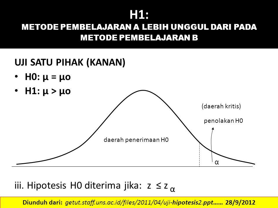 H1: METODE PEMBELAJARAN A LEBIH UNGGUL DARI PADA METODE PEMBELAJARAN B UJI SATU PIHAK (KANAN) H0: μ = μo H1: μ > μo (daerah kritis) penolakan H0 daera