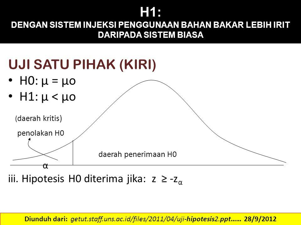 H1: DENGAN SISTEM INJEKSI PENGGUNAAN BAHAN BAKAR LEBIH IRIT DARIPADA SISTEM BIASA UJI SATU PIHAK (KIRI) H0: μ = μo H1: μ < μo ( daerah kritis) penolak
