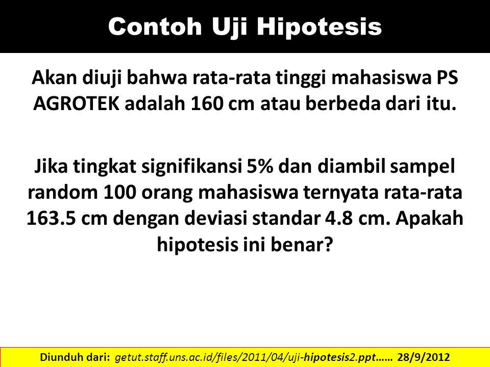 Contoh Uji Hipotesis Akan diuji bahwa rata-rata tinggi mahasiswa PS AGROTEK adalah 160 cm atau berbeda dari itu. Jika tingkat signifikansi 5% dan diam