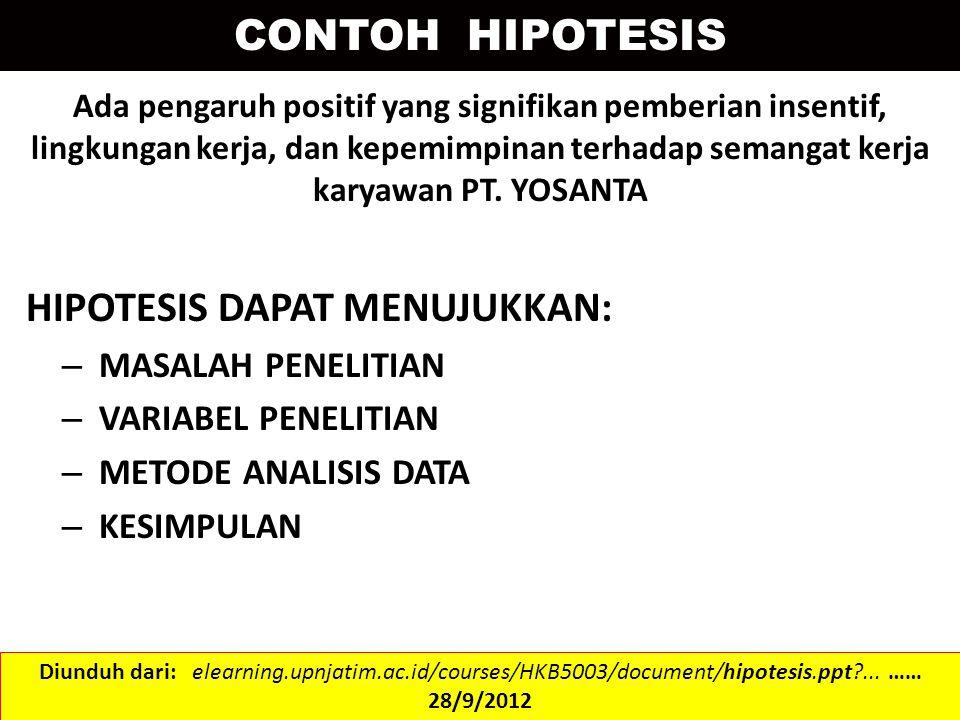 Penyelesaian i.Hipotesis : ii.Tingkat signifikansi 0.05 iii.H0 diterima jika Diunduh dari: getut.staff.uns.ac.id/files/2011/04/uji-hipotesis2.ppt…… 28/9/2012