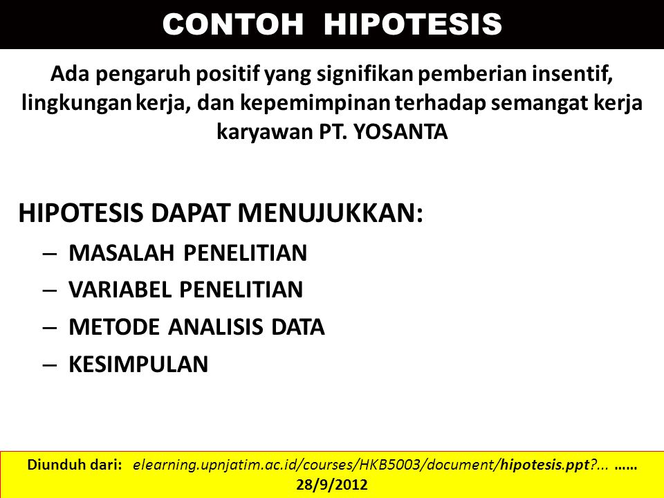 ASAL DAN FUNGSI HIPOTESIS Hipoptesis dapat diturunkan dari teori yang berkaitan dengan masalah yang akan kita teliti.