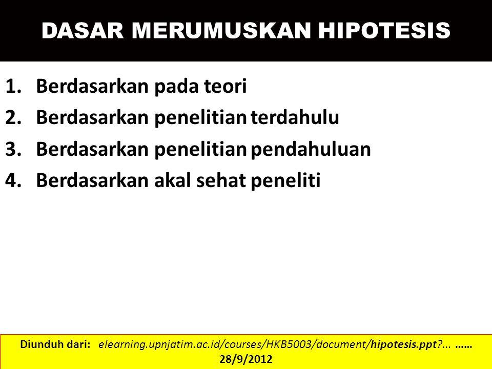 Uji Dua Arah H 0 : µ = µ 0 lawan H 1 : µ ≠ µ 0 Diketahui Tidak Diketahui Z½άZ½ά t ½ά;db=n-1 Dibandingkan Tabel < Ho Diterima >Ho Ditolak MENGUJI RATA-RATA Diunduh dari: staff.unud.ac.id/~sampurna/wp-content/uploads/2008/.../hipotesis.ppt …… 28/9/2012