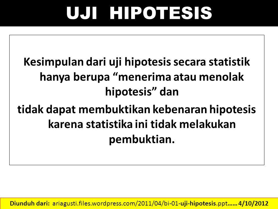 """Kesimpulan dari uji hipotesis secara statistik hanya berupa """"menerima atau menolak hipotesis"""" dan tidak dapat membuktikan kebenaran hipotesis karena s"""