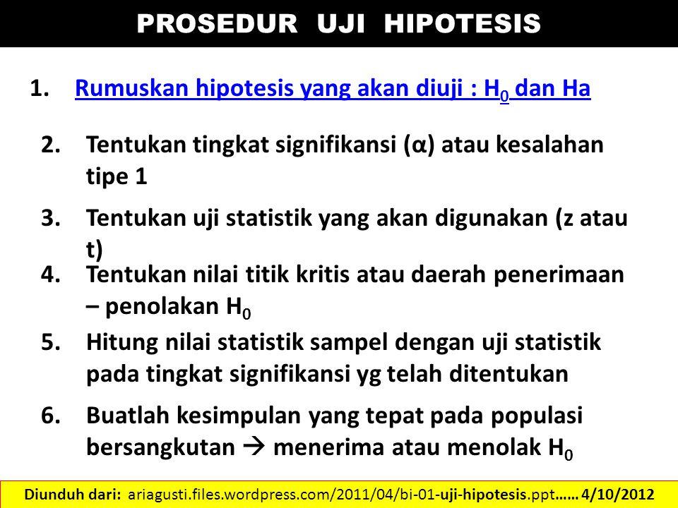 PROSEDUR UJI HIPOTESIS 1.Rumuskan hipotesis yang akan diuji : H 0 dan HaRumuskan hipotesis yang akan diuji : H 0 dan Ha 2.Tentukan tingkat signifikans
