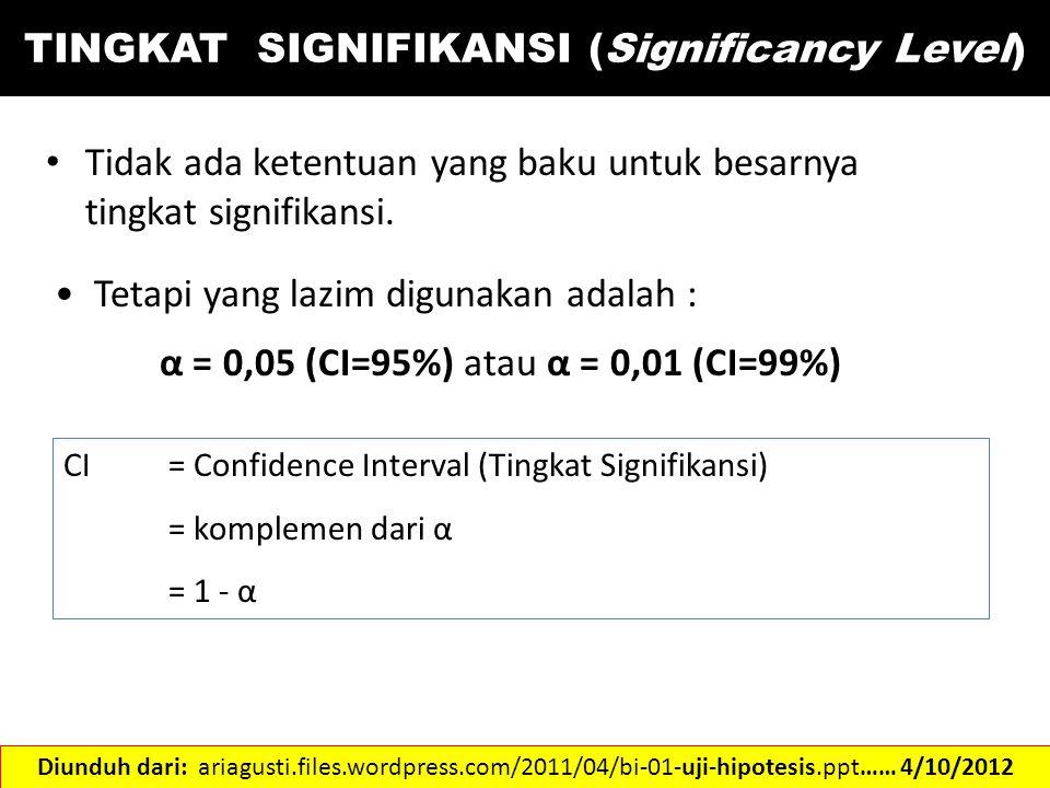 TINGKAT SIGNIFIKANSI (Significancy Level) Tidak ada ketentuan yang baku untuk besarnya tingkat signifikansi. Tetapi yang lazim digunakan adalah : α =
