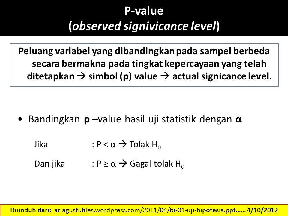P-value (observed signivicance level) Peluang variabel yang dibandingkan pada sampel berbeda secara bermakna pada tingkat kepercayaan yang telah ditet