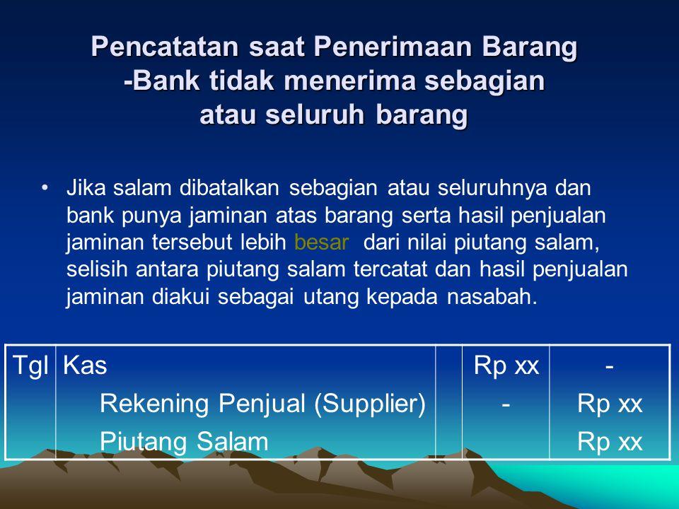 Sisa penjualan jaminan yang setelah dipakai untuk melunasi piutang salam akan dikembalikan kepada nasabah TglRekening Penjual (Supplier) Piutang Salam Rp xx - Rp xx