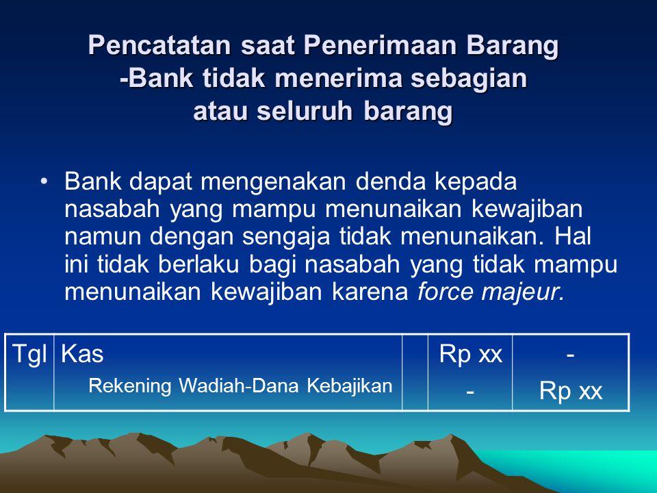 Pencatatan saat Penerimaan Barang -Bank tidak menerima sebagian atau seluruh barang Pada akhir periode pelaporan, persediaan yang diperoleh melalui transaksi salam diukur sebesar nilai terendah biaya perolehan atau Net Realizable Value.