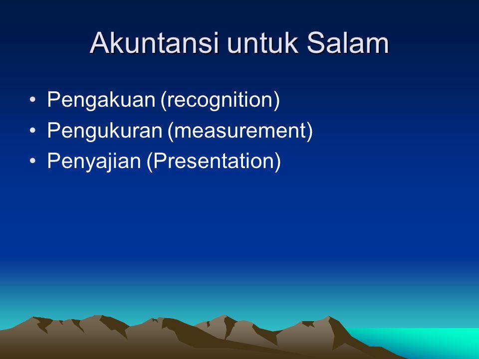 PSAK no 59 (2002) Bank sebagai Pembeli Piutang salam diakui pada saat modal usaha salam dibayarkan atau dialihkan kepada penjual.
