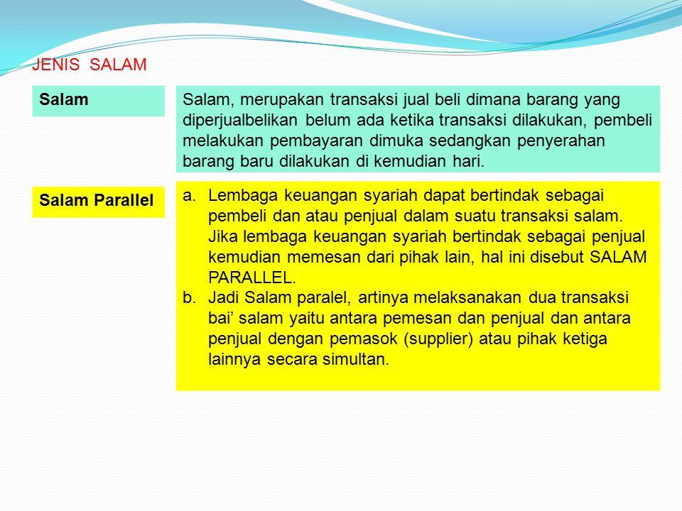 a.Lembaga keuangan syariah dapat bertindak sebagai pembeli dan atau penjual dalam suatu transaksi salam. Jika lembaga keuangan syariah bertindak sebag