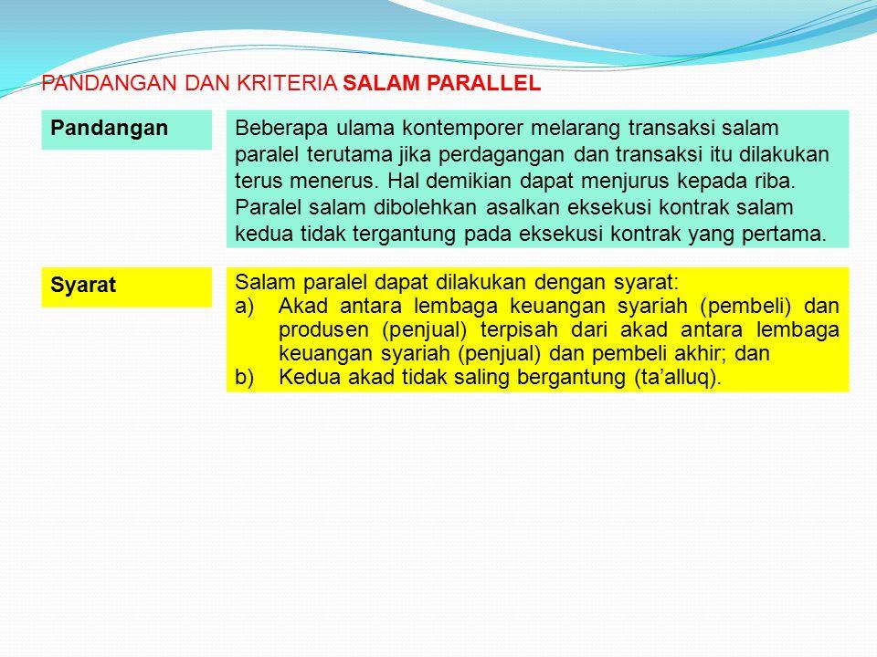 Salam paralel dapat dilakukan dengan syarat: a)Akad antara lembaga keuangan syariah (pembeli) dan produsen (penjual) terpisah dari akad antara lembaga