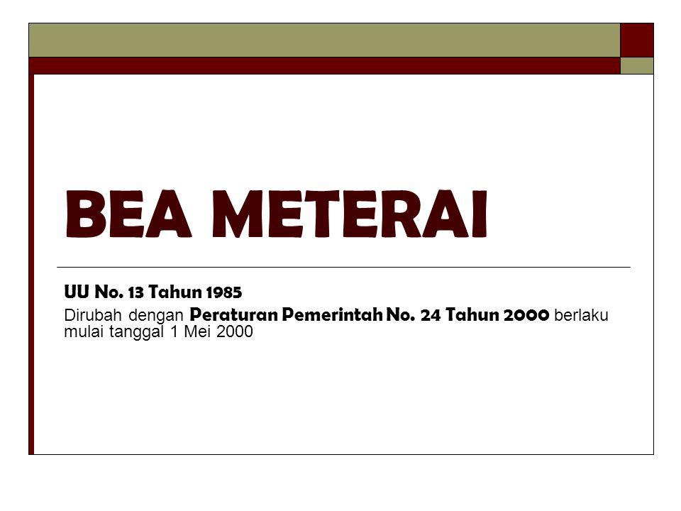 TERMINOLOGI  DOKUMEN Kertas yang berisi tulisan yang mengandung arti dan maksud tentang perbuatan, keadaan atau kenyataan bagi seseorang dan/atau pihak-pihak yang berkepentingan  BENDA METERAI METERAI TEMPEL dan KERTAS METERAI yang dikeluarkan oleh Pemerintah Indonesia  TANDA TANGAN Tanda tangan sebagaimana lazimnya dipergunakan, termasuk Paraf, Teraan atau cap tanda tangan atau cap paraf, teraan cap nama atau lainnyasebagai pengganti tanda tangan