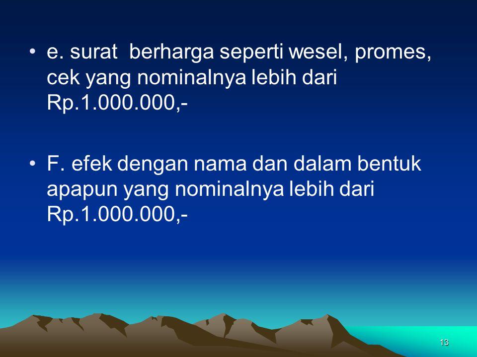 13 e. surat berharga seperti wesel, promes, cek yang nominalnya lebih dari Rp.1.000.000,- F. efek dengan nama dan dalam bentuk apapun yang nominalnya