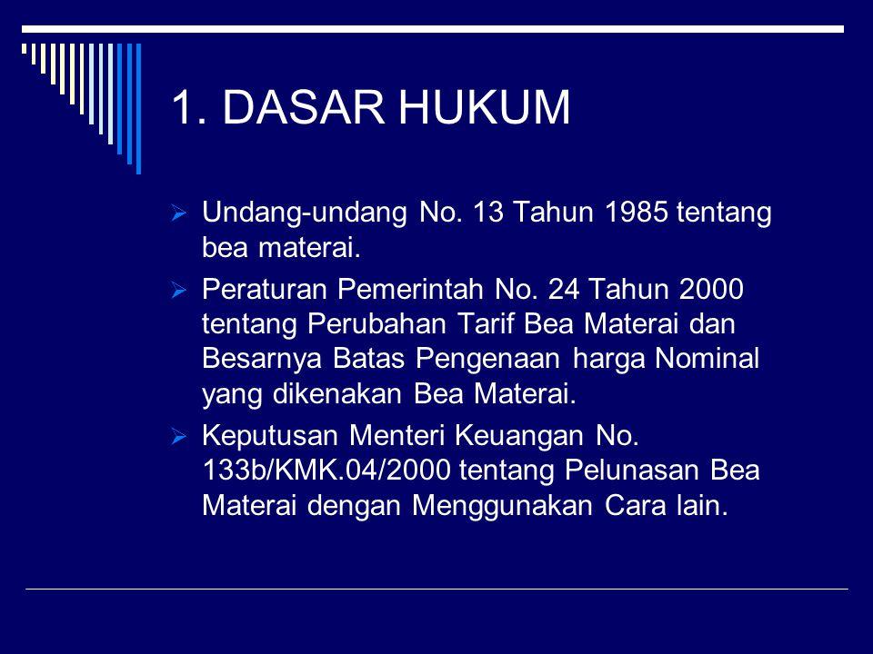 1. DASAR HUKUM  Undang-undang No. 13 Tahun 1985 tentang bea materai.  Peraturan Pemerintah No. 24 Tahun 2000 tentang Perubahan Tarif Bea Materai dan