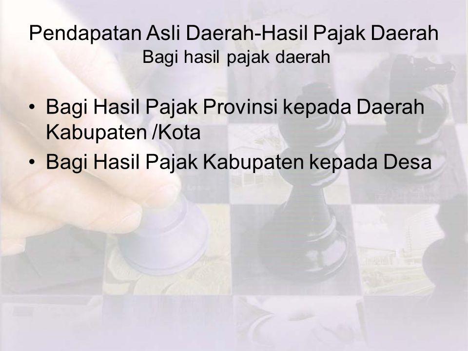 Pendapatan Asli Daerah-Hasil Pajak Daerah Bagi hasil pajak daerah Bagi Hasil Pajak Provinsi kepada Daerah Kabupaten /Kota Bagi Hasil Pajak Kabupaten kepada Desa