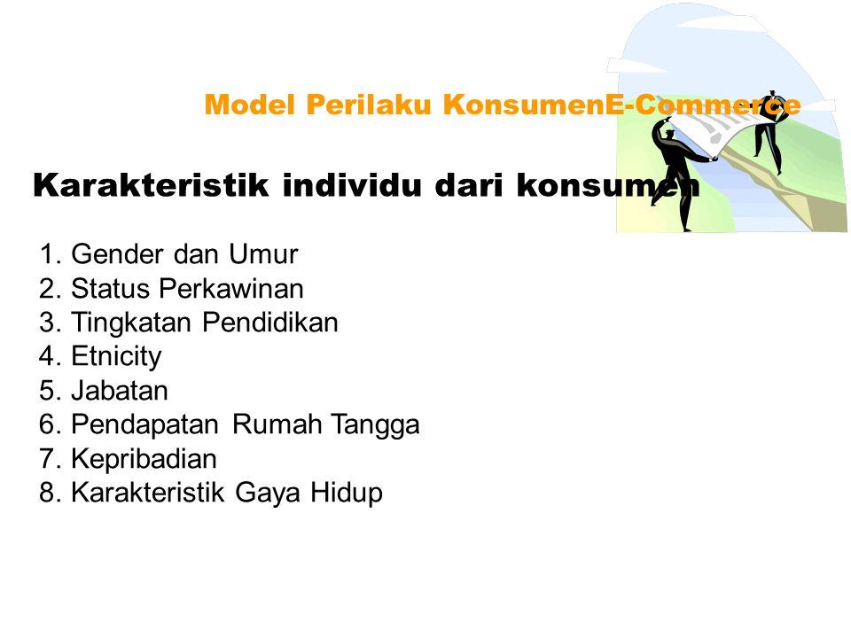 Karakteristik individu dari konsumen Model Perilaku KonsumenE-Commerce 1.Gender dan Umur 2.Status Perkawinan 3.Tingkatan Pendidikan 4.Etnicity 5.Jabat