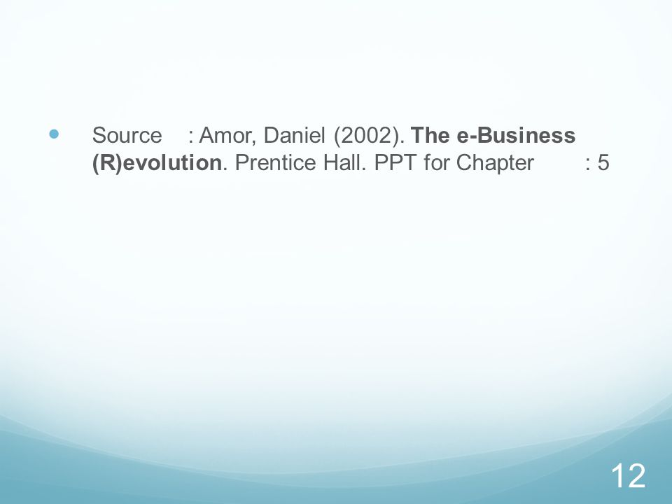 Source : Amor, Daniel (2002). The e-Business (R)evolution. Prentice Hall. PPT for Chapter : 5 12