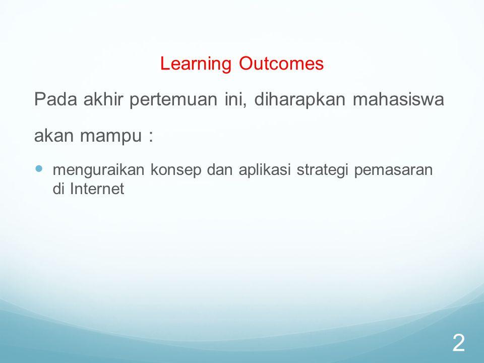 Learning Outcomes Pada akhir pertemuan ini, diharapkan mahasiswa akan mampu : menguraikan konsep dan aplikasi strategi pemasaran di Internet 2