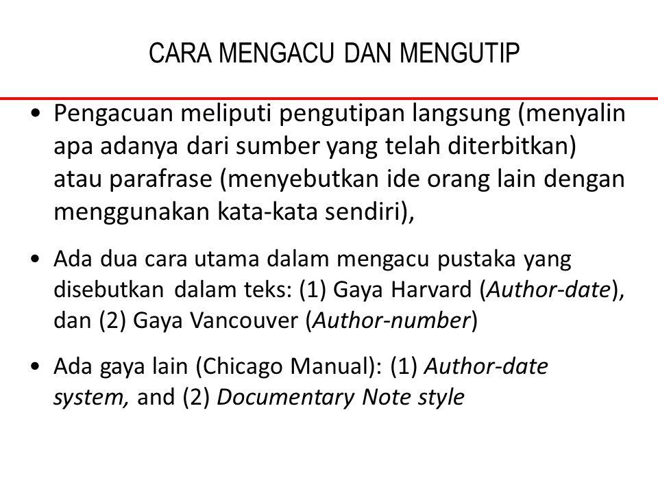 CARA MENGACU DAN MENGUTIP Pengacuan meliputi pengutipan langsung (menyalin apa adanya dari sumber yang telah diterbitkan) atau parafrase (menyebutkan