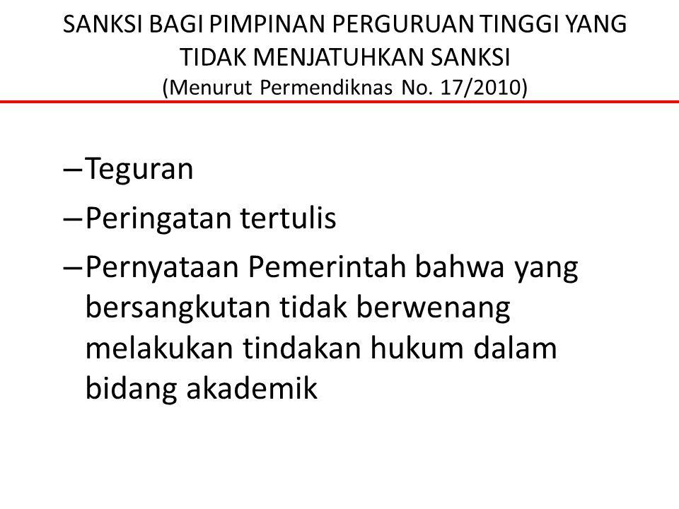 SANKSI BAGI PIMPINAN PERGURUAN TINGGI YANG TIDAK MENJATUHKAN SANKSI (Menurut Permendiknas No. 17/2010) – Teguran – Peringatan tertulis – Pernyataan Pe