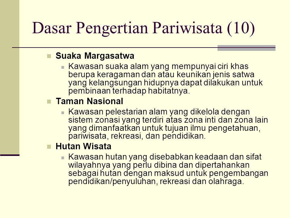 Dasar Pengertian Pariwisata (10) Suaka Margasatwa Kawasan suaka alam yang mempunyai ciri khas berupa keragaman dan atau keunikan jenis satwa yang kela