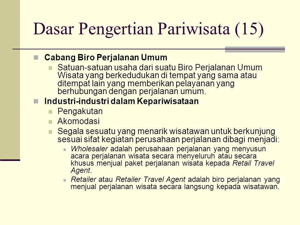 Dasar Pengertian Pariwisata (15) Cabang Biro Perjalanan Umum Satuan-satuan usaha dari suatu Biro Perjalanan Umum Wisata yang berkedudukan di tempat ya