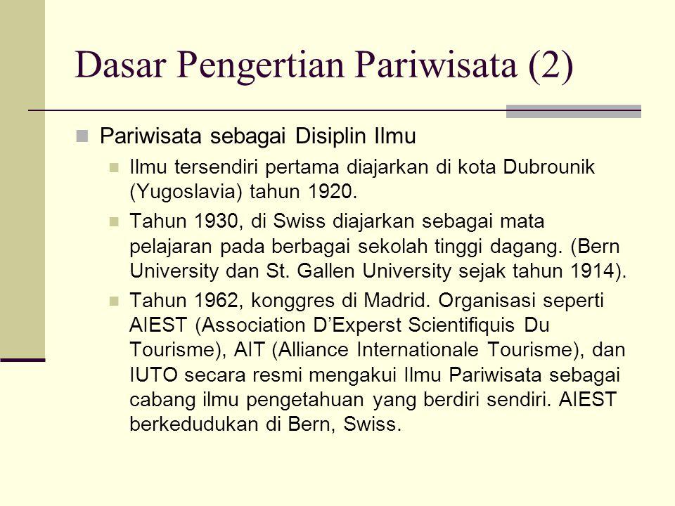 Dasar Pengertian Pariwisata (2) Pariwisata sebagai Disiplin Ilmu Ilmu tersendiri pertama diajarkan di kota Dubrounik (Yugoslavia) tahun 1920. Tahun 19
