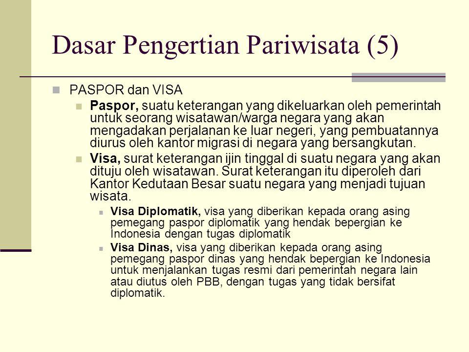 Dasar Pengertian Pariwisata (5) PASPOR dan VISA Paspor, suatu keterangan yang dikeluarkan oleh pemerintah untuk seorang wisatawan/warga negara yang ak