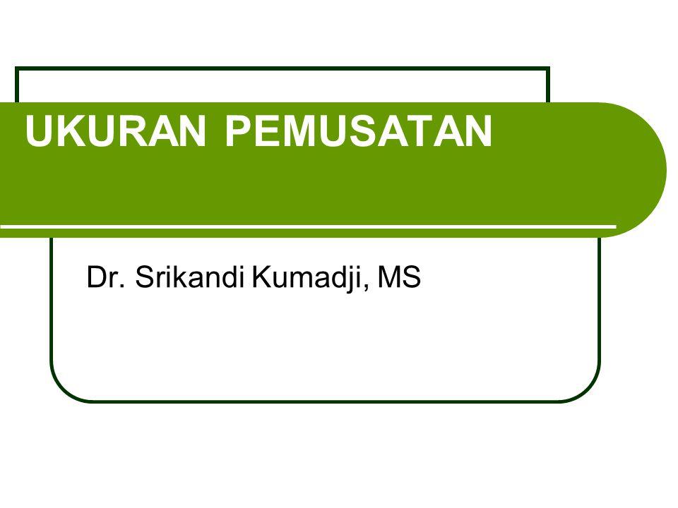 UKURAN PEMUSATAN Dr. Srikandi Kumadji, MS