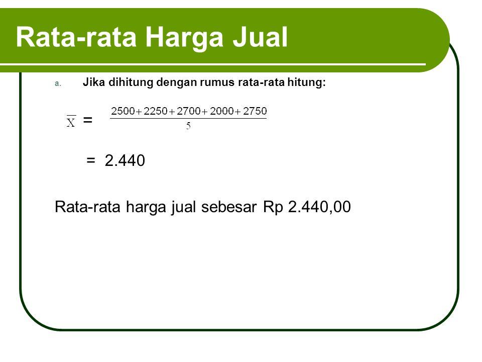 Rata-rata Harga Jual a. Jika dihitung dengan rumus rata-rata hitung: = = 2.440 Rata-rata harga jual sebesar Rp 2.440,00