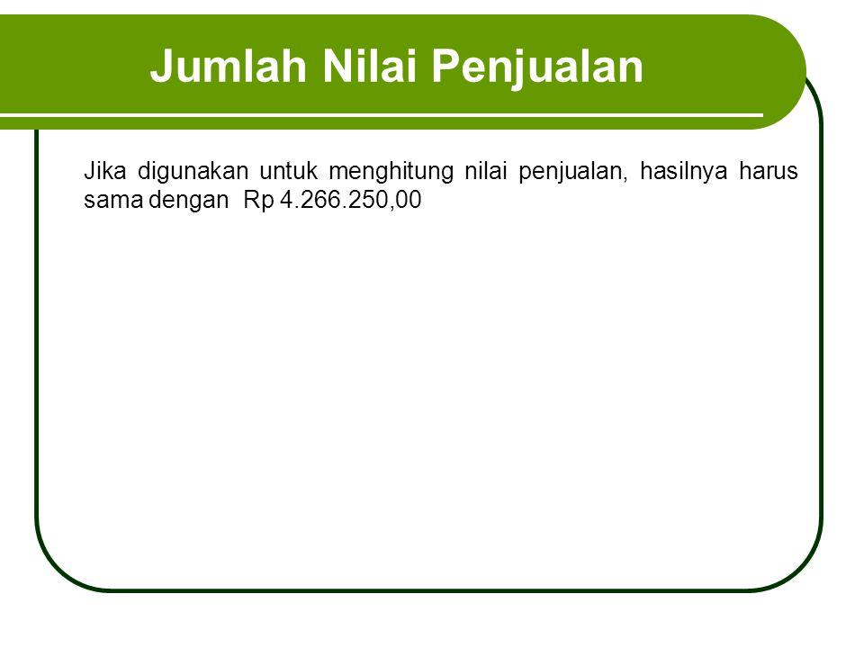 Jumlah Nilai Penjualan Jika digunakan untuk menghitung nilai penjualan, hasilnya harus sama dengan Rp 4.266.250,00