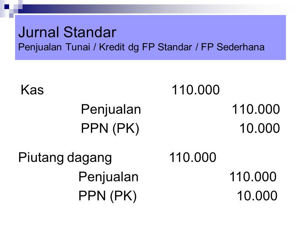 Jurnal Standar Penjualan Tunai / Kredit dg FP Standar / FP Sederhana Kas 110.000 Penjualan110.000 PPN (PK) 10.000 Piutang dagang110.000 Penjualan110.0