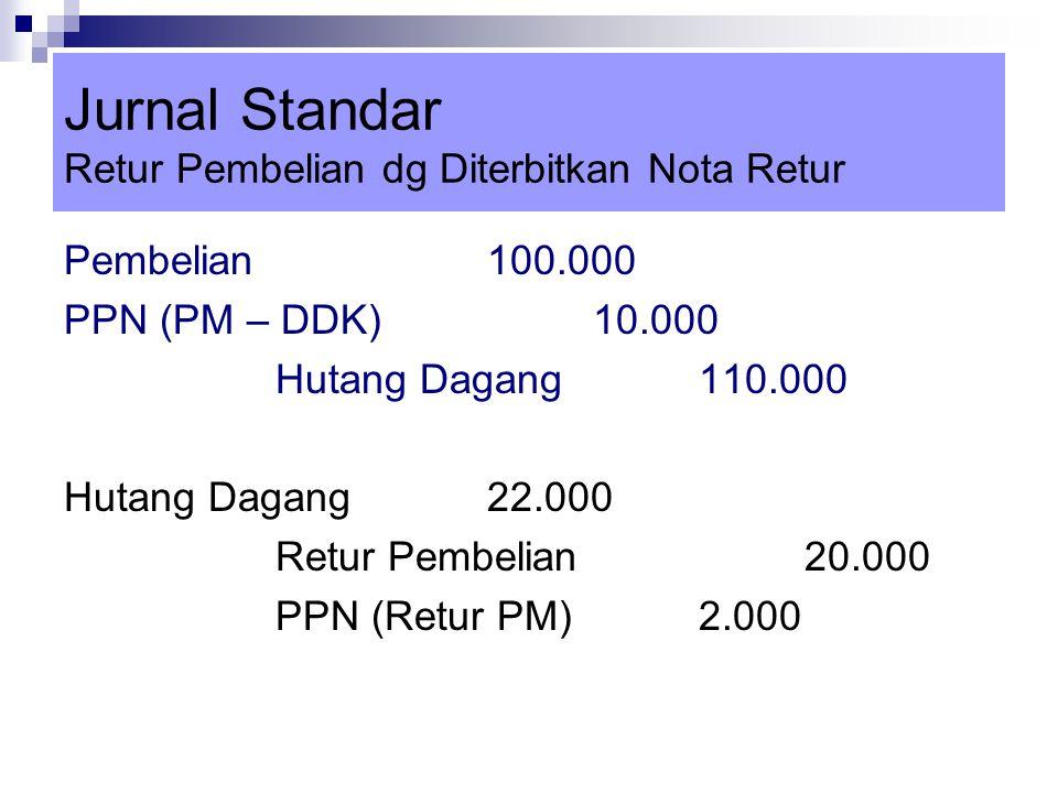 Jurnal Standar Retur Pembelian dg Diterbitkan Nota Retur Pembelian100.000 PPN (PM – DDK)10.000 Hutang Dagang110.000 Hutang Dagang22.000 Retur Pembelia