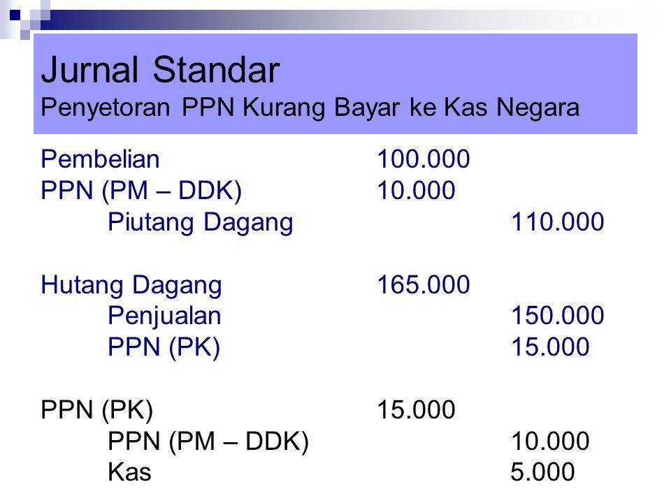 Jurnal Standar Penyetoran PPN Kurang Bayar ke Kas Negara Pembelian100.000 PPN (PM – DDK)10.000 Piutang Dagang110.000 Hutang Dagang165.000 Penjualan150