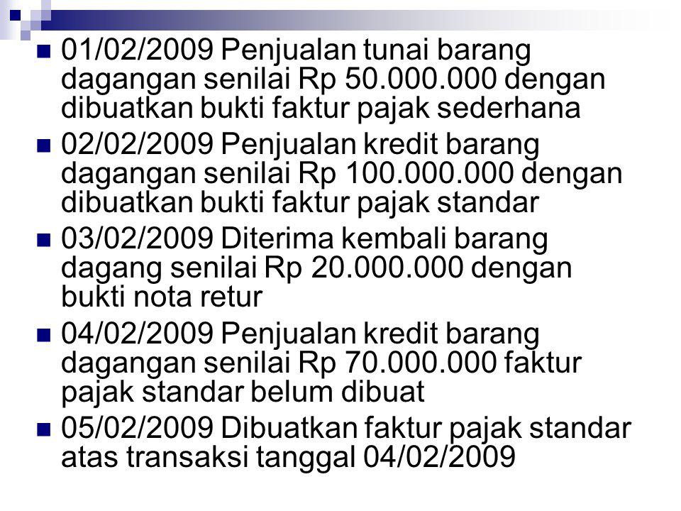 01/02/2009 Penjualan tunai barang dagangan senilai Rp 50.000.000 dengan dibuatkan bukti faktur pajak sederhana 02/02/2009 Penjualan kredit barang daga