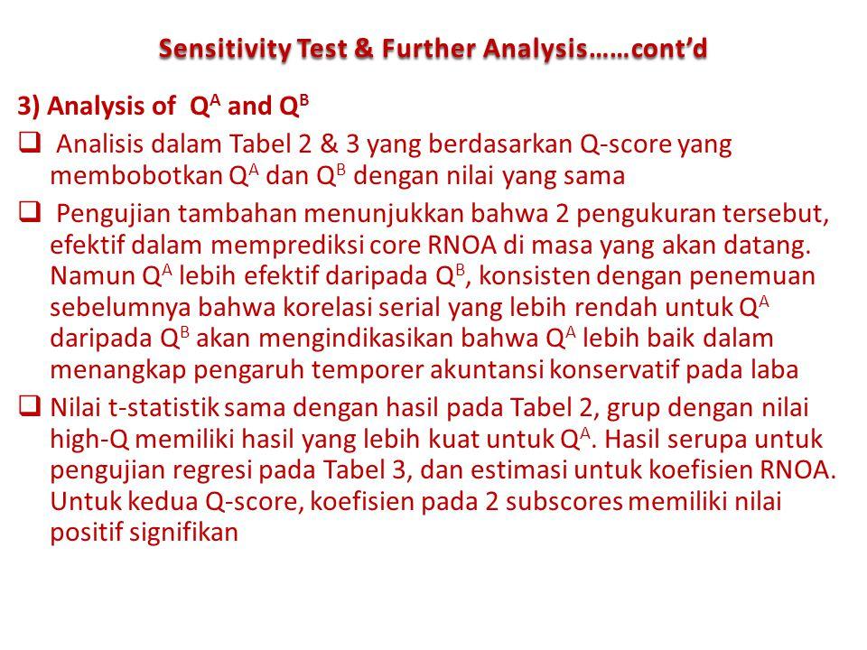 3) Analysis of Q A and Q B  Analisis dalam Tabel 2 & 3 yang berdasarkan Q-score yang membobotkan Q A dan Q B dengan nilai yang sama  Pengujian tamba