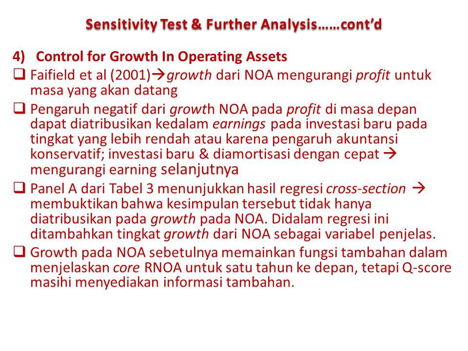 4)Control for Growth In Operating Assets  Faifield et al (2001)  growth dari NOA mengurangi profit untuk masa yang akan datang  Pengaruh negatif da