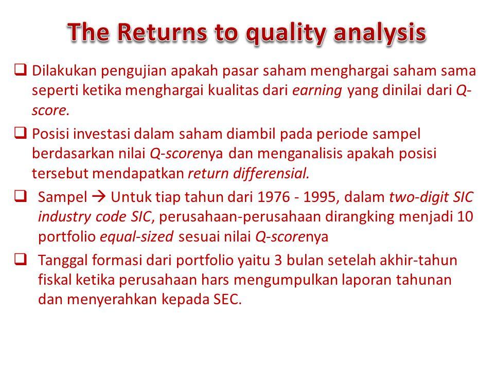  Dilakukan pengujian apakah pasar saham menghargai saham sama seperti ketika menghargai kualitas dari earning yang dinilai dari Q- score.  Posisi in