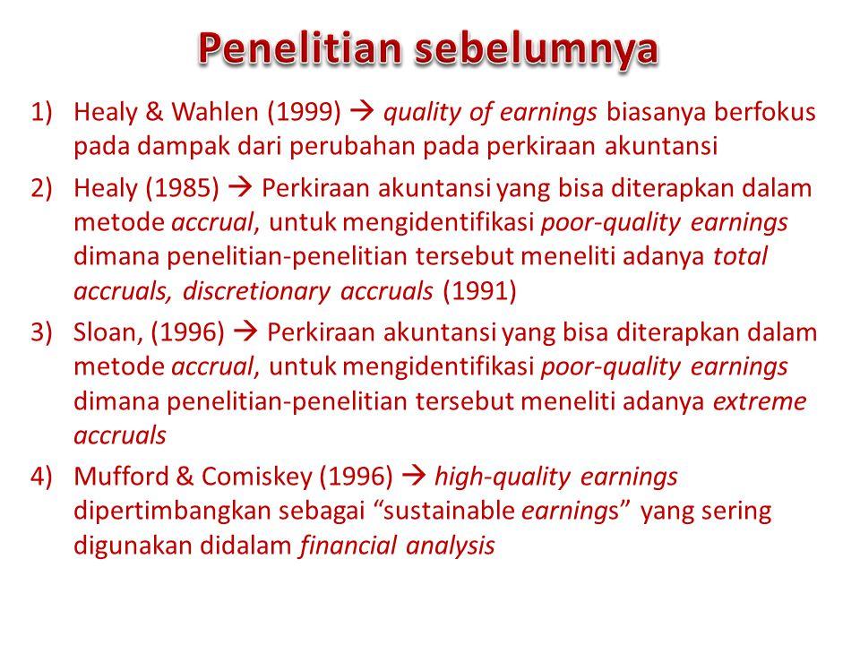 1)Healy & Wahlen (1999)  quality of earnings biasanya berfokus pada dampak dari perubahan pada perkiraan akuntansi 2)Healy (1985)  Perkiraan akuntan