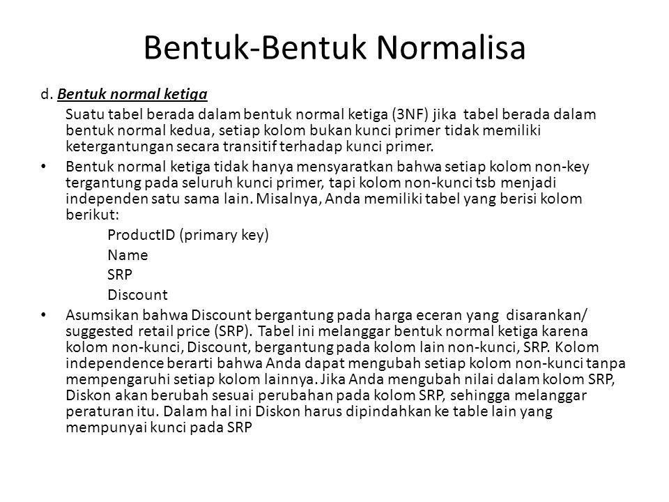 Bentuk-Bentuk Normalisa d. Bentuk normal ketiga Suatu tabel berada dalam bentuk normal ketiga (3NF) jika tabel berada dalam bentuk normal kedua, setia