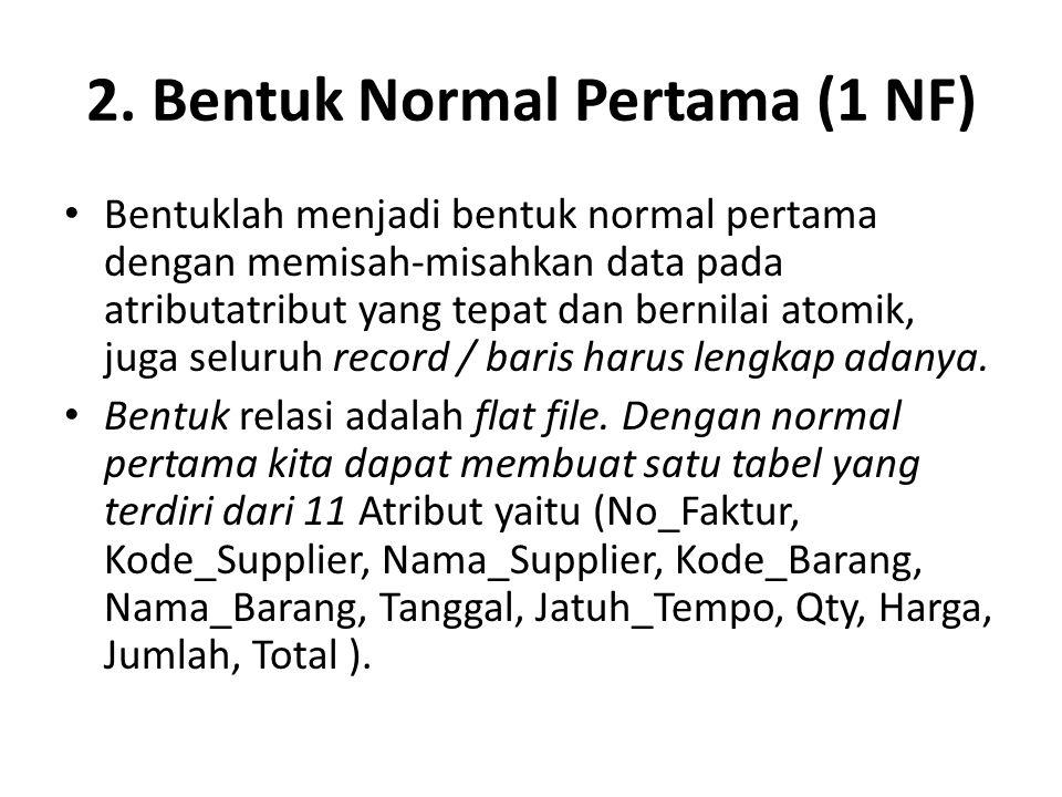 2. Bentuk Normal Pertama (1 NF) Bentuklah menjadi bentuk normal pertama dengan memisah-misahkan data pada atributatribut yang tepat dan bernilai atomi
