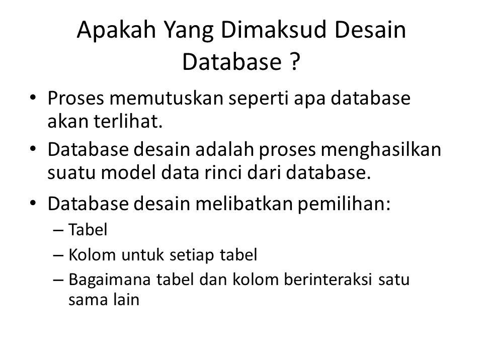 Apakah Yang Dimaksud Desain Database ? Proses memutuskan seperti apa database akan terlihat. Database desain adalah proses menghasilkan suatu model da