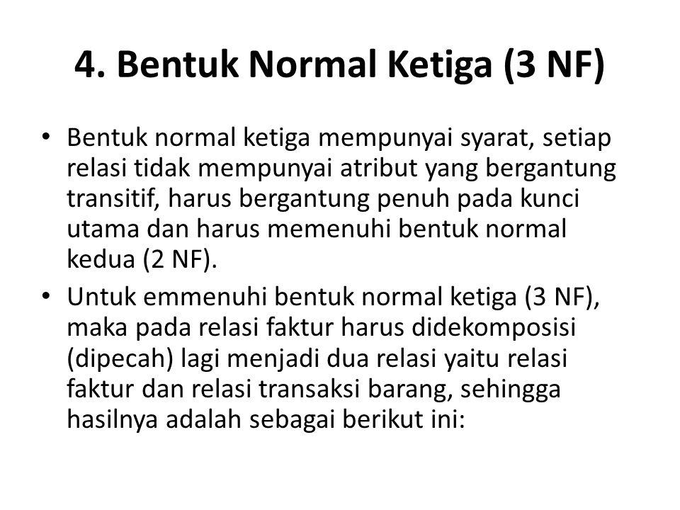 4. Bentuk Normal Ketiga (3 NF) Bentuk normal ketiga mempunyai syarat, setiap relasi tidak mempunyai atribut yang bergantung transitif, harus bergantun